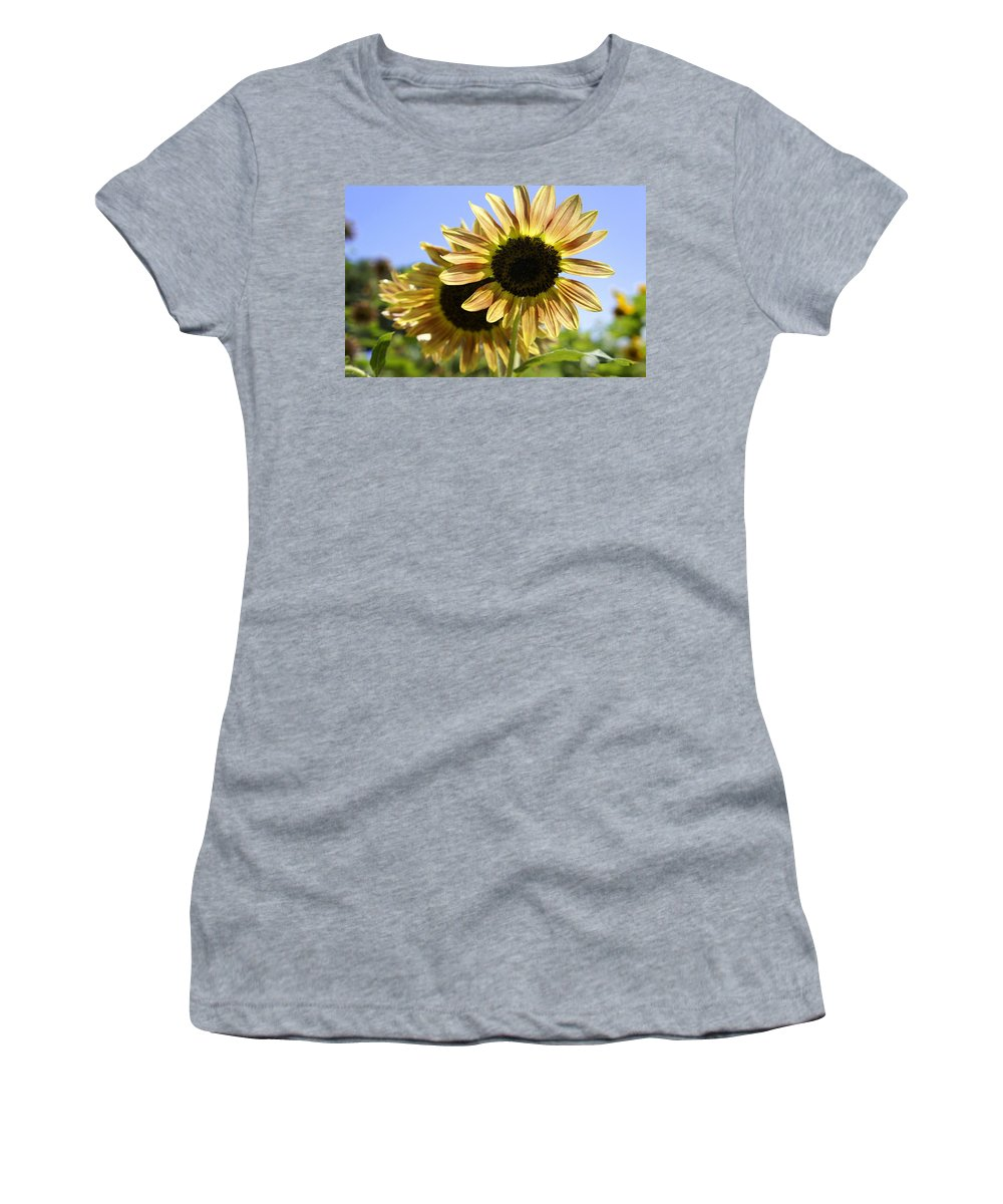 Yellow Sunflowers Women's T-Shirt (Athletic Fit) featuring the photograph Sunny Day by Laurie Perry