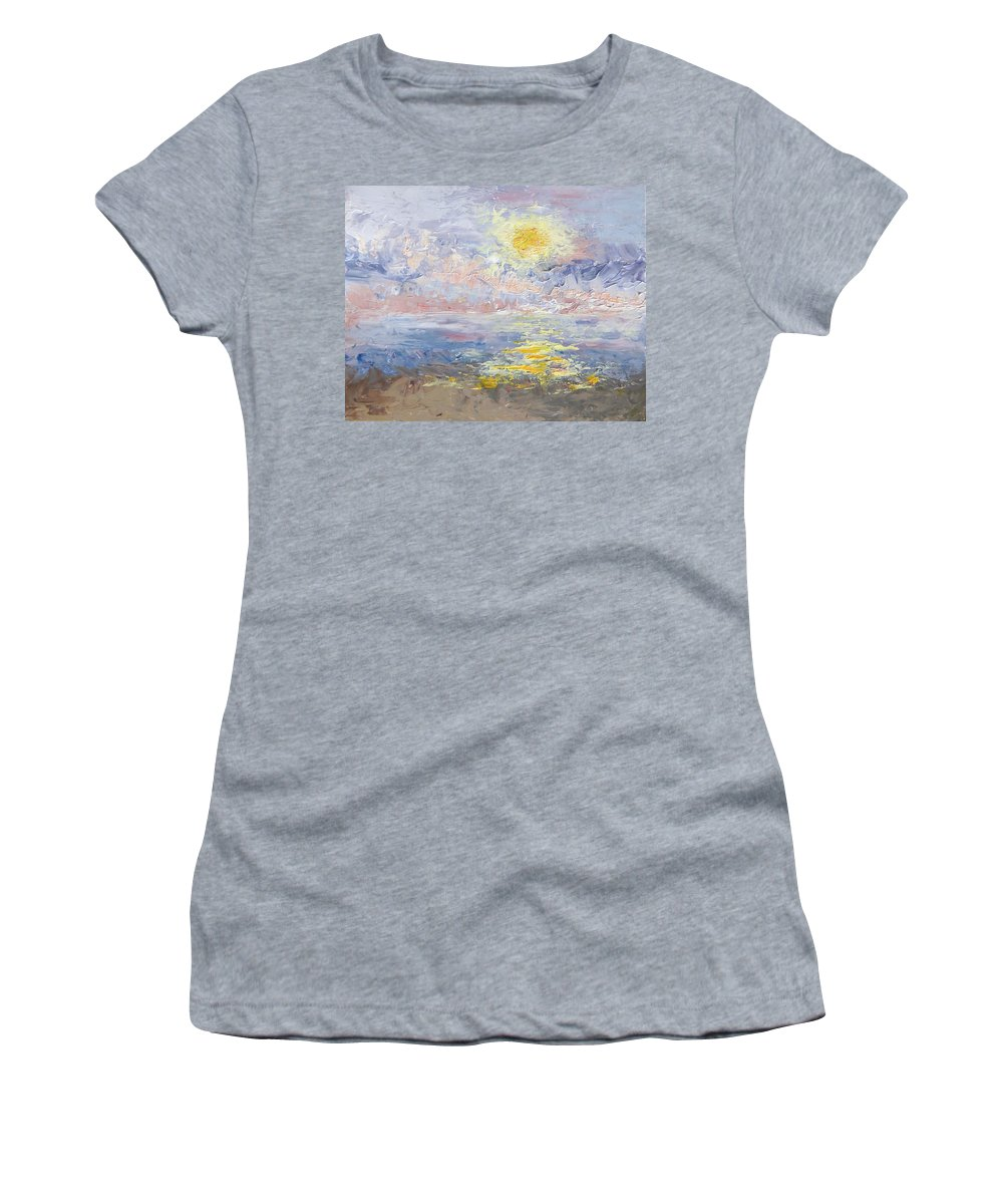 Sunrise Women's T-Shirt featuring the painting Sunrise As The Fog Blew In by Mary Haas