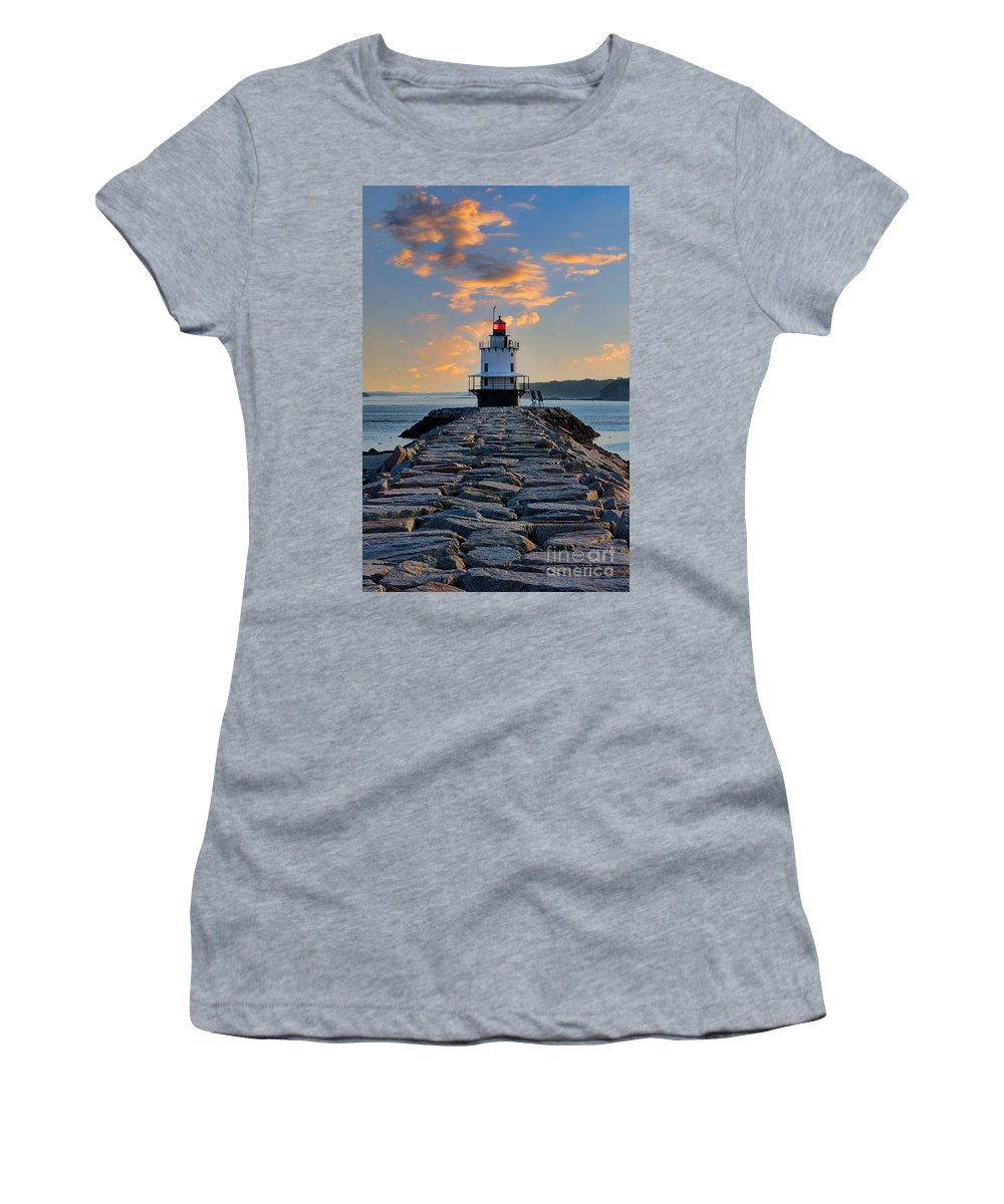 Caisson-style Women's T-Shirt featuring the photograph Sunrise Spring Point Ledge by Jerry Fornarotto