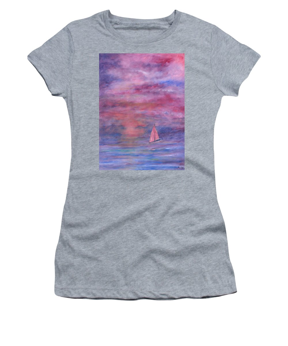 Saling Women's T-Shirt featuring the painting Sunset Adventure by Ben Kiger