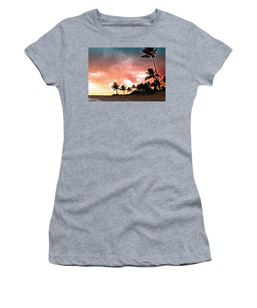 Abstract Women's T-Shirt (Athletic Fit) featuring the digital art Sunset Beach by James Kramer