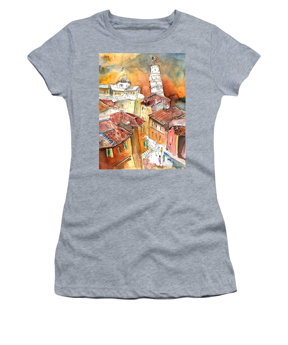 Italy Women's T-Shirt (Athletic Fit) featuring the painting Sunset In Pisa by Miki De Goodaboom