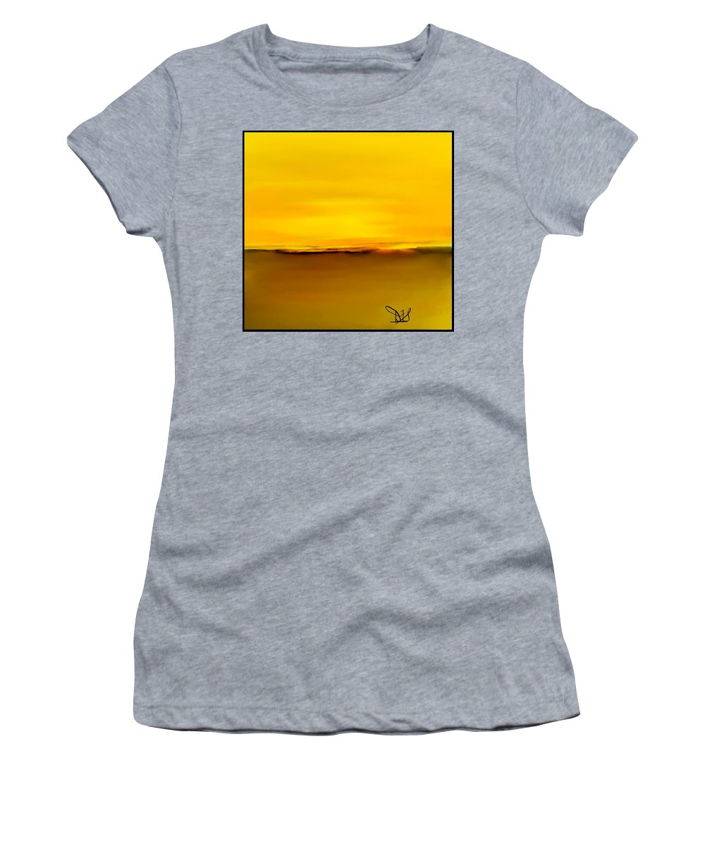 Fineartamerica.com Women's T-Shirt featuring the painting Sunset Over Landscape #3 by Diane Strain