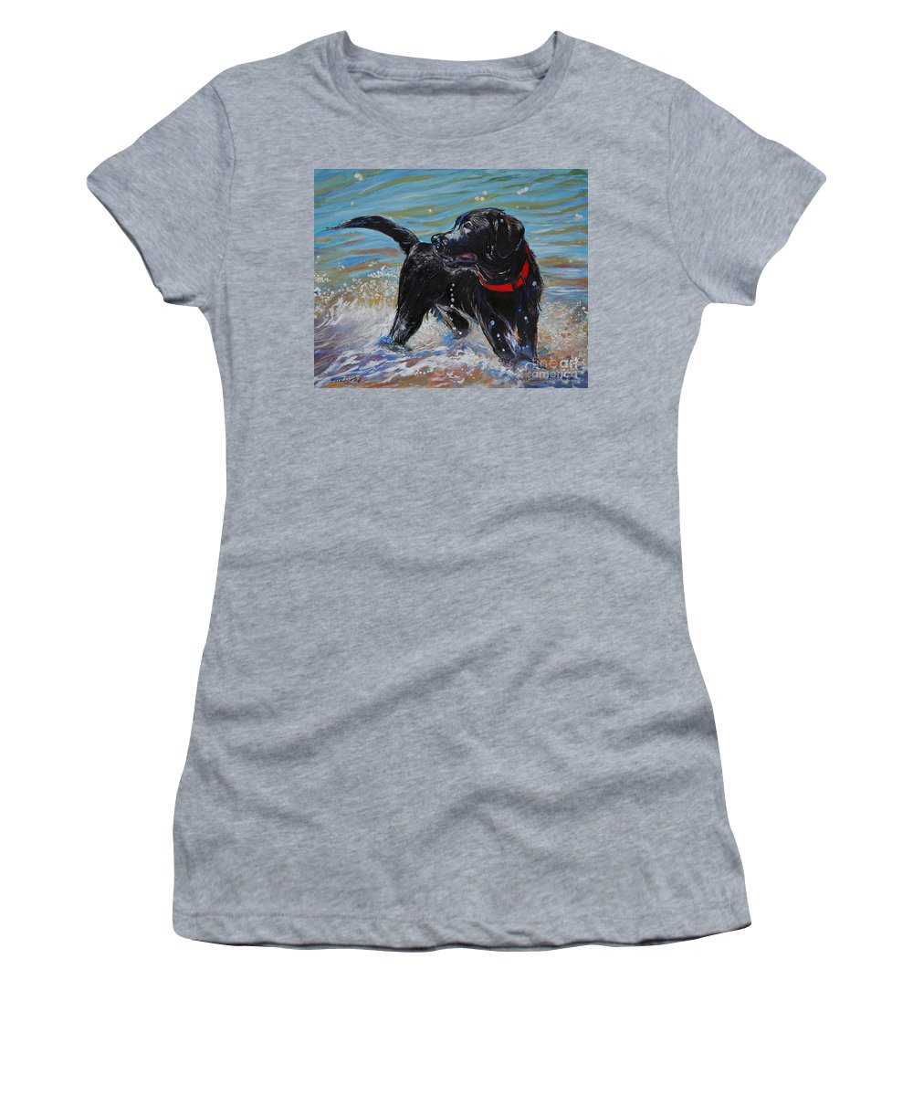Black Labrador Retriever Puppy Women's T-Shirt featuring the painting Surf Pup by Molly Poole