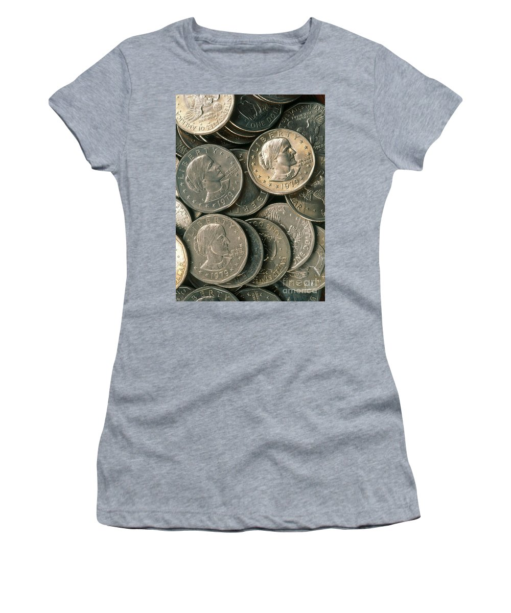 Susan B. Anthony Women's T-Shirt (Athletic Fit) featuring the photograph Susan B. Anthony Dollar by David N. Davis
