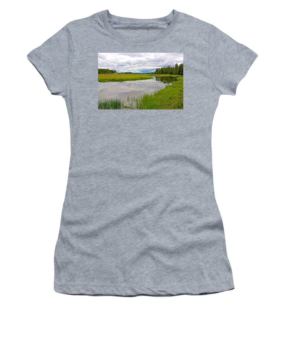 Swan Lake In Grand Teton National Park Women's T-Shirt featuring the photograph Swan Lake In Grand Teton National Park-wyoming by Ruth Hager