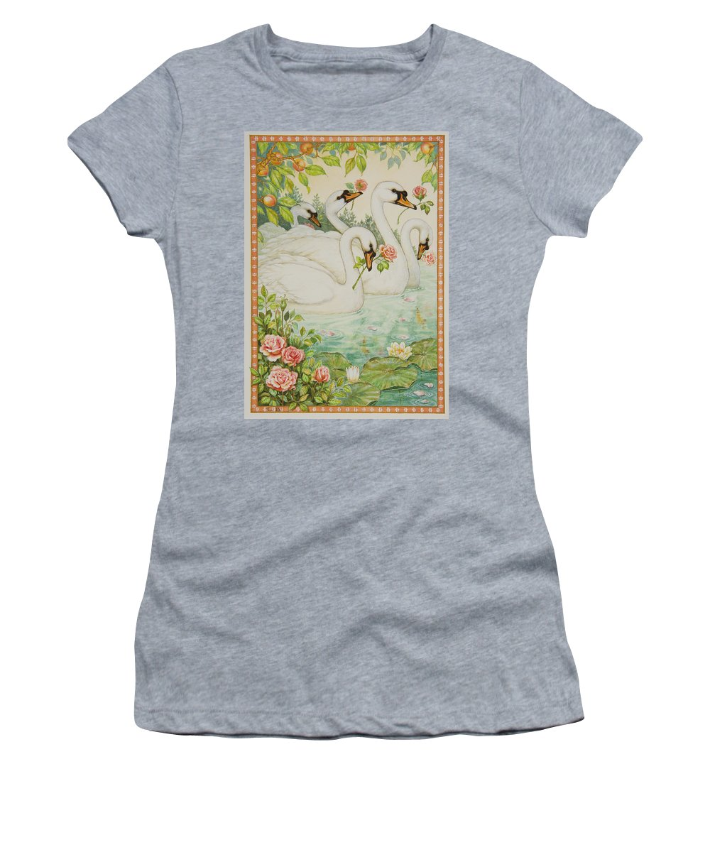 Swans Women's T-Shirt (Athletic Fit) featuring the painting Swan Romance by Lynn Bywaters