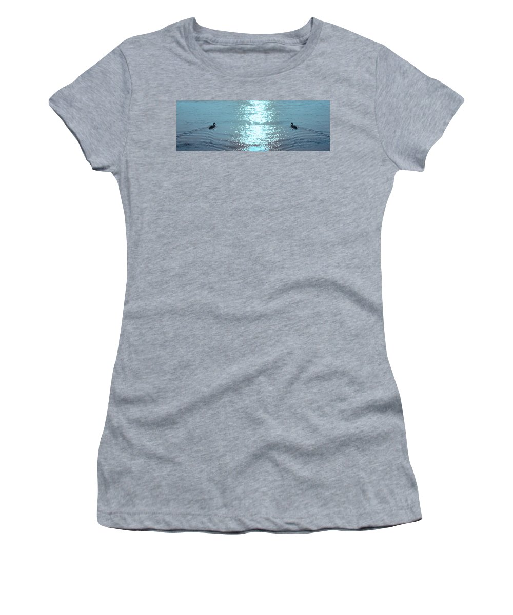 Swimming Women's T-Shirt (Athletic Fit) featuring the photograph Swimming Together by Bill Cannon