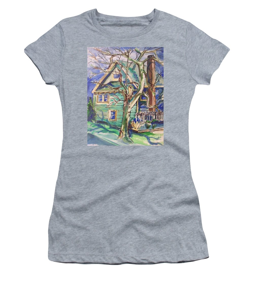 Sycamore Women's T-Shirt (Athletic Fit) featuring the painting Sycamore Tree by Eric Schiabor