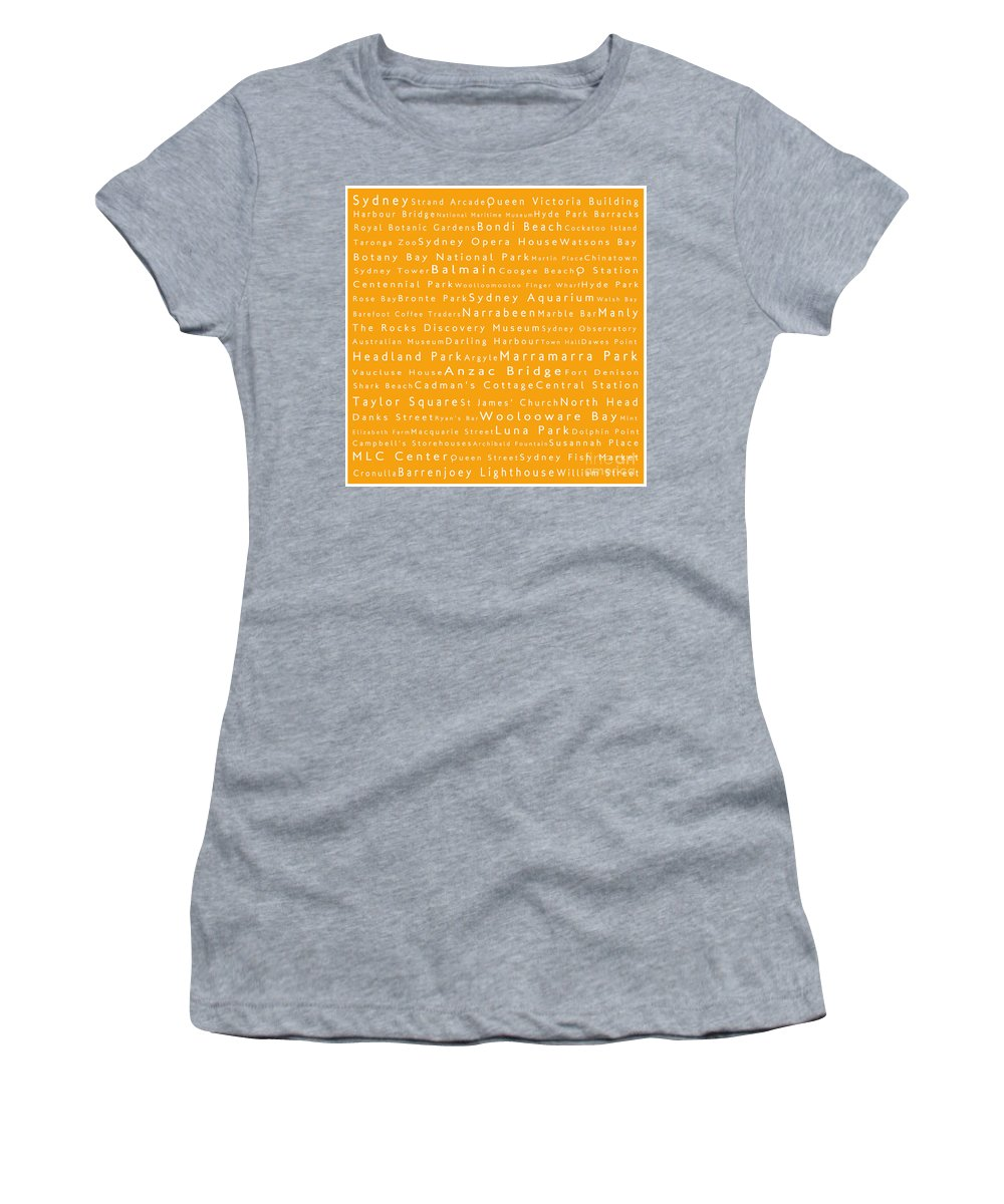 City Women's T-Shirt featuring the digital art Sydney In Words Orange by Sabine Jacobs