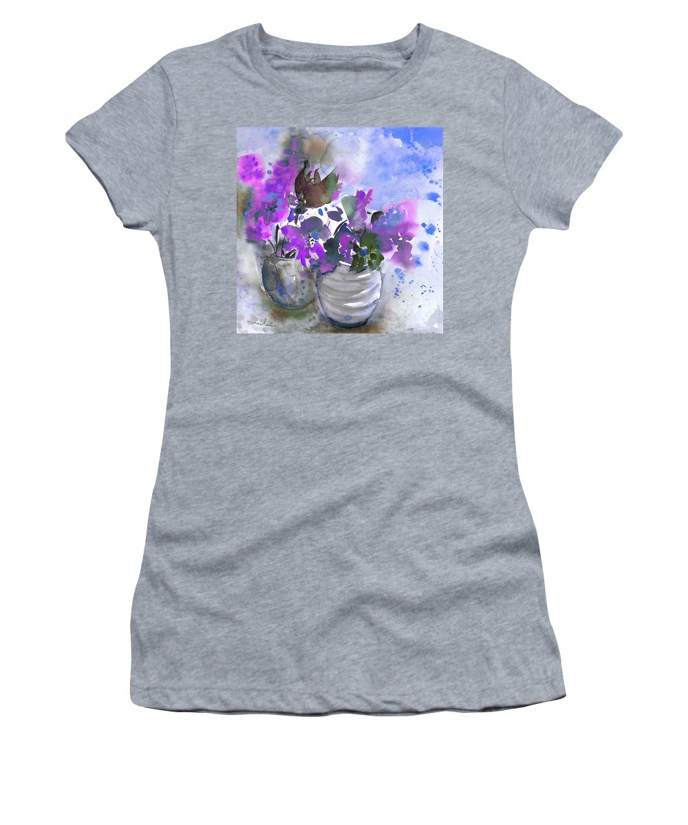 Flowers Women's T-Shirt (Athletic Fit) featuring the painting Symphony In Blue And Purple by Miki De Goodaboom