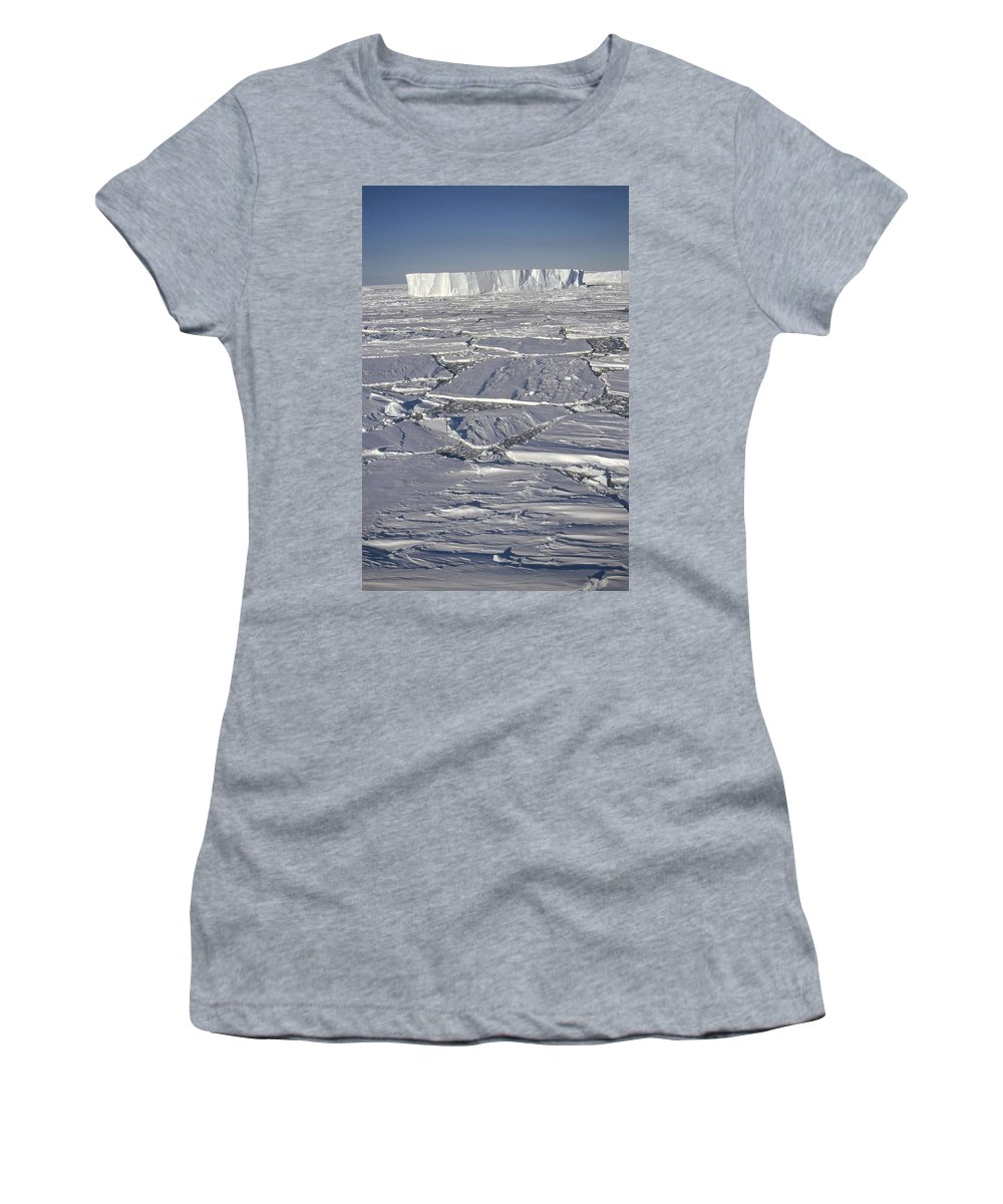 Feb0514 Women's T-Shirt (Athletic Fit) featuring the photograph Tabular Icebergs Among Broken Fast Ice by Tui De Roy