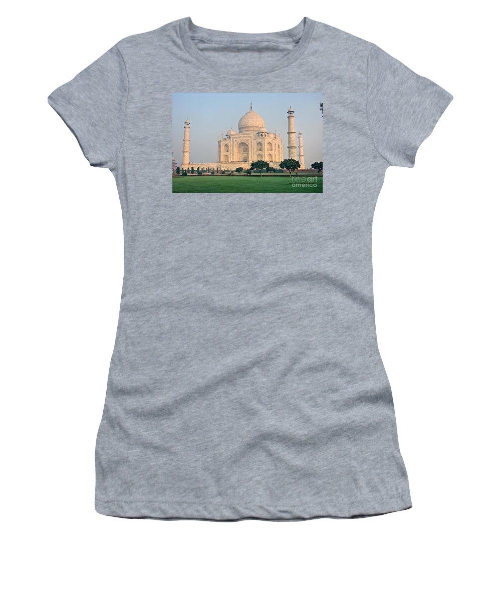 � Adventure Women's T-Shirt (Athletic Fit) featuring the photograph Taj Mahal At Sunrise - Agra - Uttar Pradesh - India by Luciano Mortula