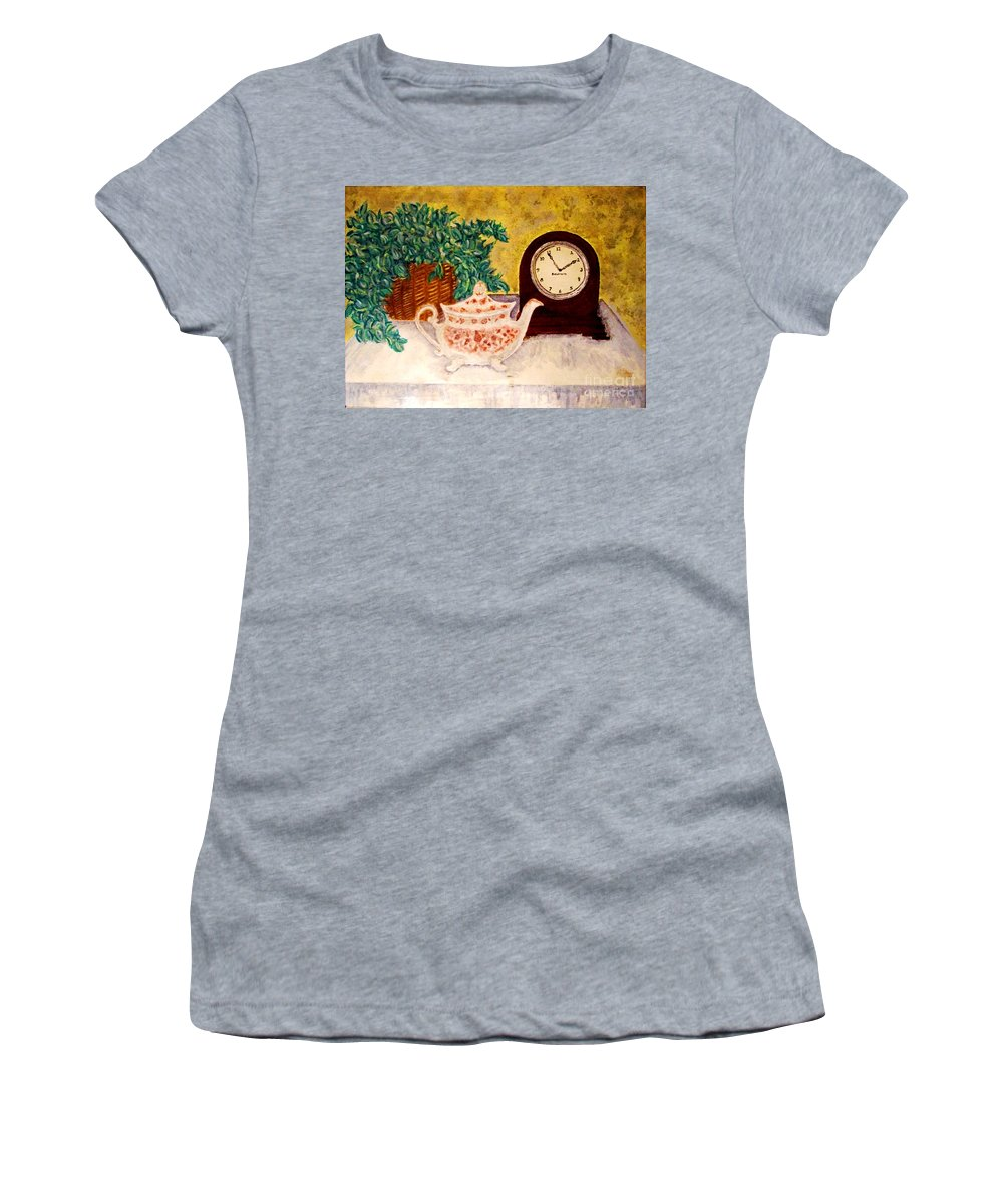 Tea Time Women's T-Shirt (Athletic Fit) featuring the painting Tea Time by Desiree Paquette