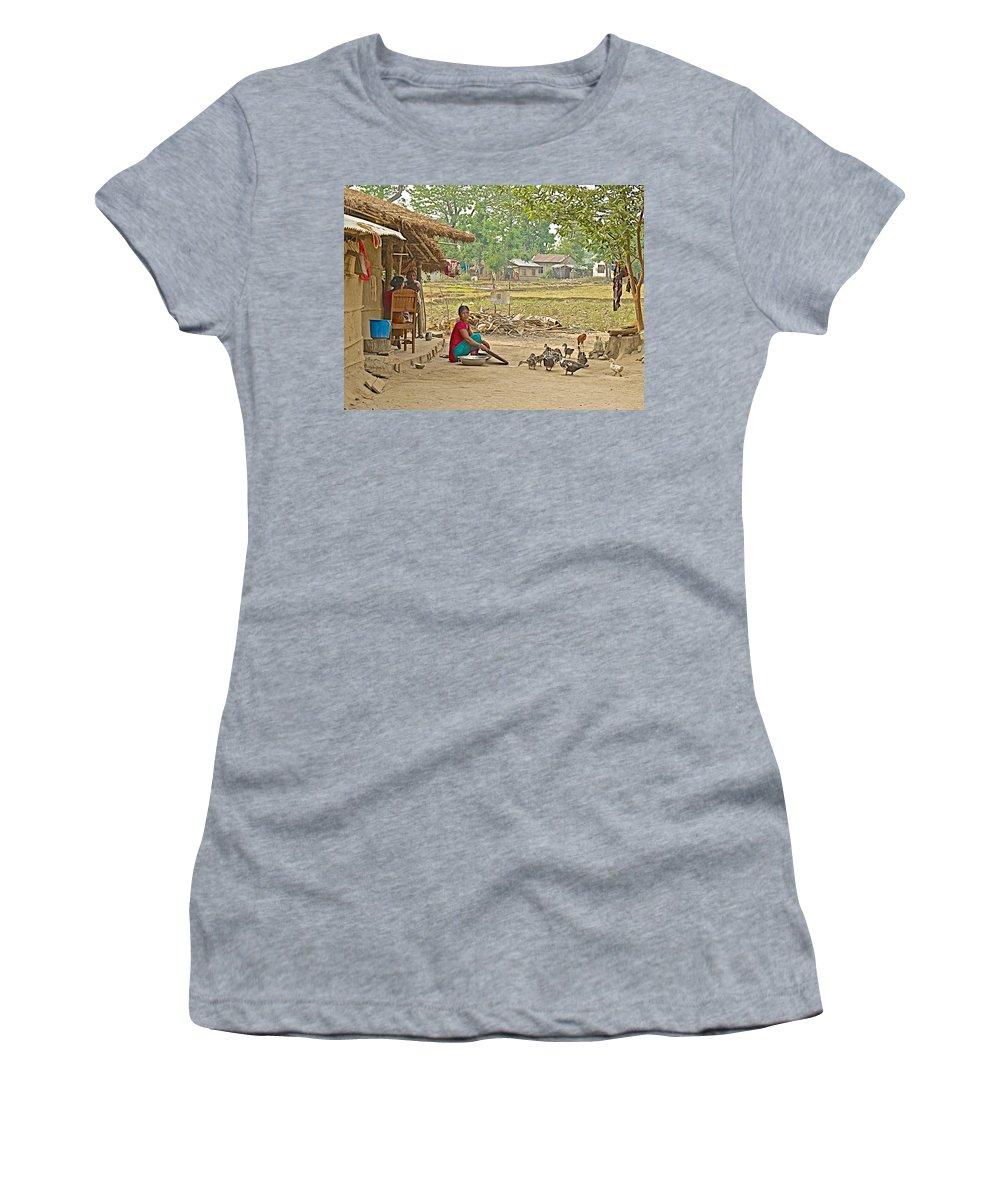 Tharu Farming Village Landscape- In Nepal Women's T-Shirt featuring the photograph Tharu Farming Village Landscape-nepal by Ruth Hager