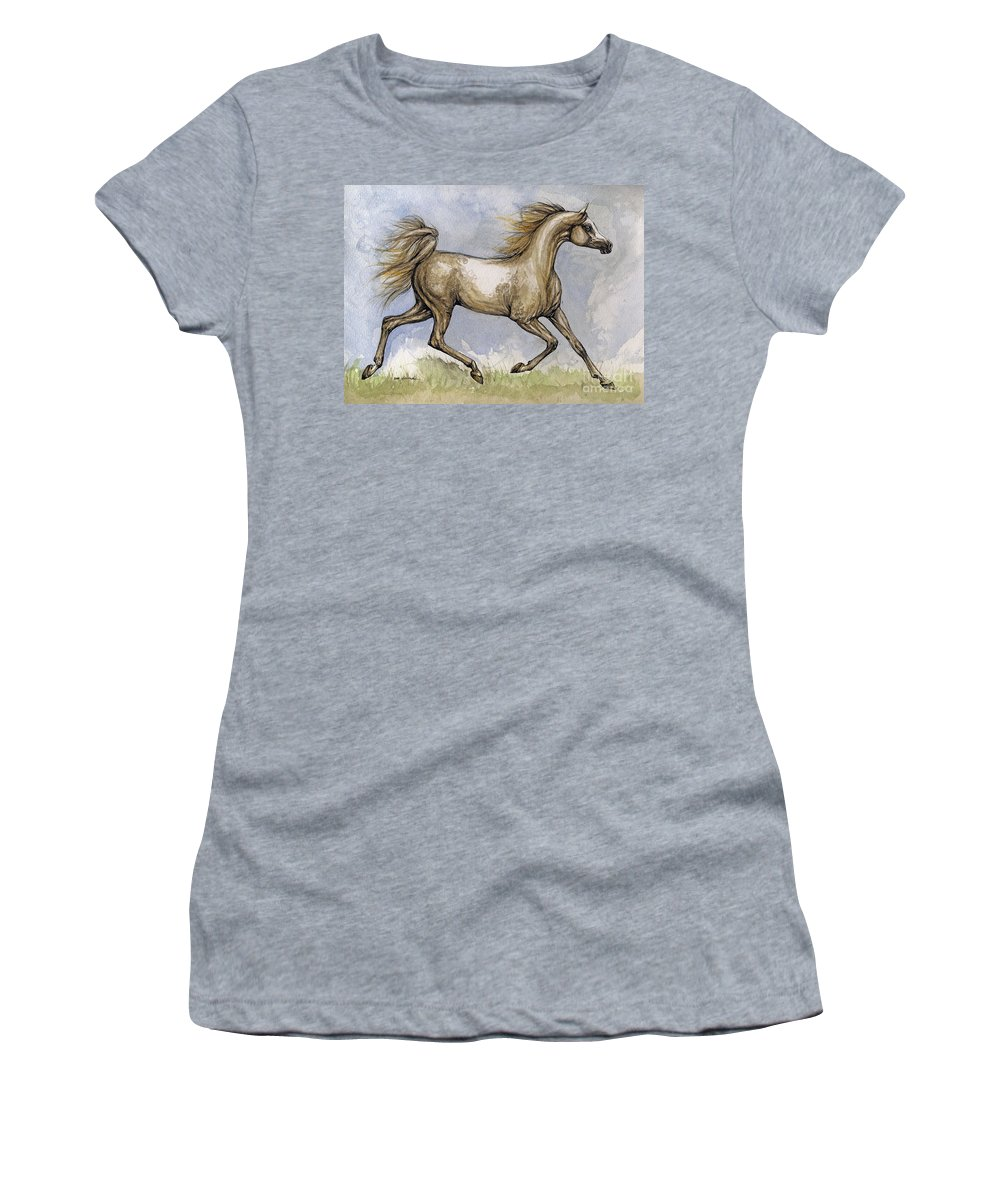 Mare Women's T-Shirt featuring the painting The Arabian Mare Running by Angel Ciesniarska