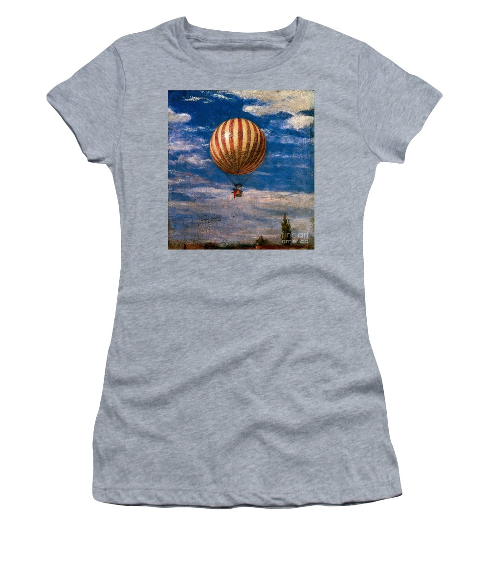 Transport Women's T-Shirt (Athletic Fit) featuring the painting The Balloon by Pal Szinyei Merse