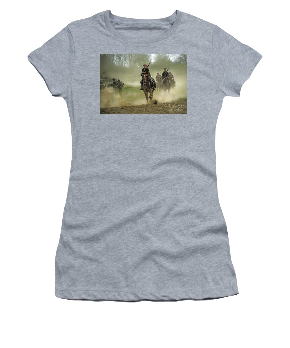 Cavalry Women's T-Shirt (Athletic Fit) featuring the photograph The Battle by Angel Ciesniarska