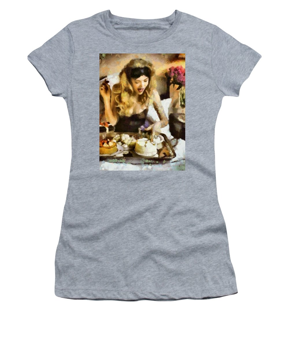Sweets Women's T-Shirt (Athletic Fit) featuring the painting The Best Flowers Are Made Of Icing by Janice MacLellan