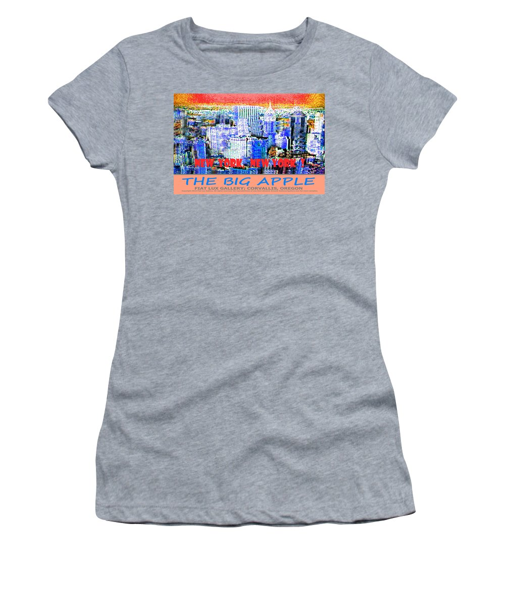 New York Women's T-Shirt (Athletic Fit) featuring the digital art The Big Apple by Michael Moore