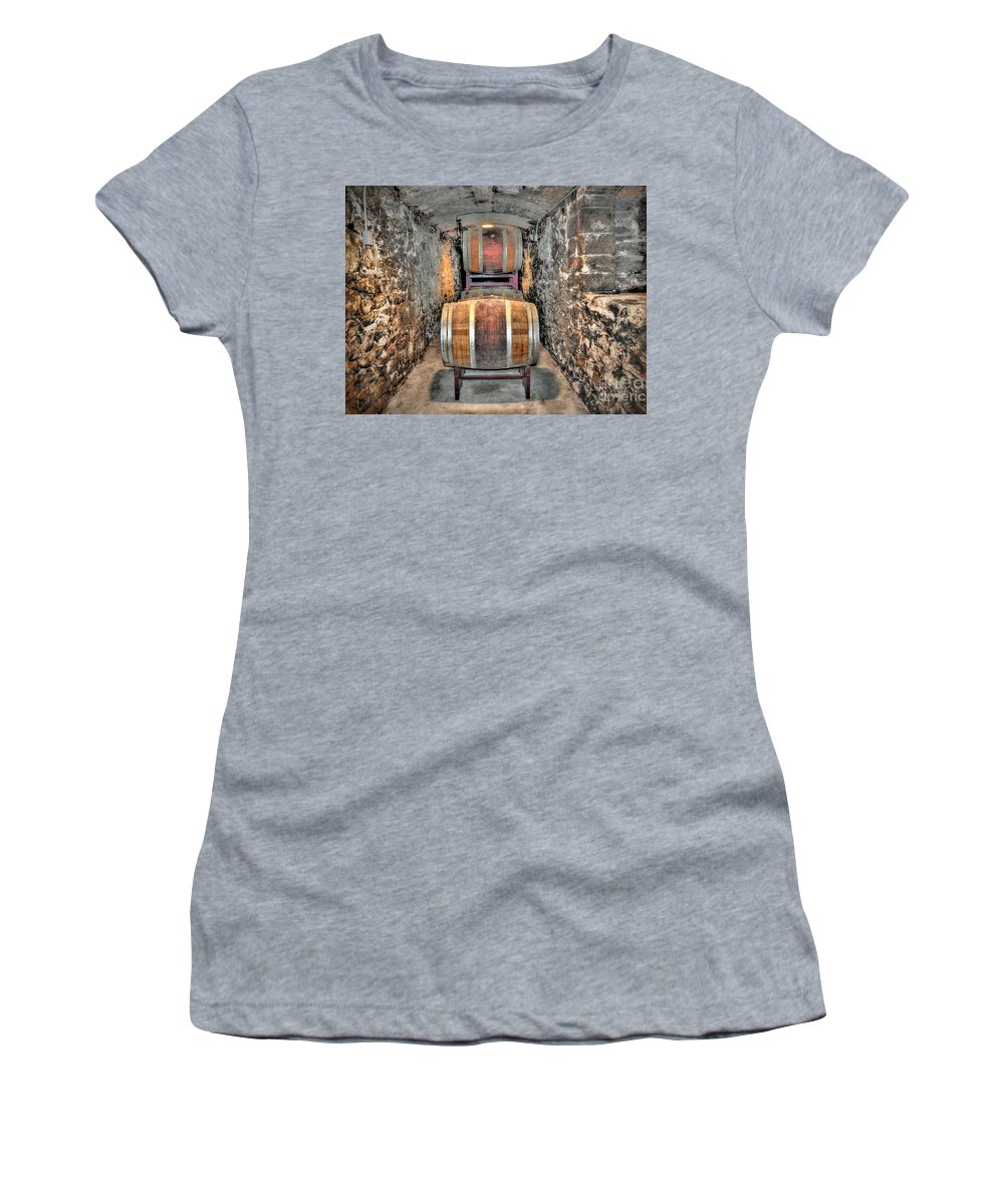 Biltmore Estate Wine Barrels Women's T-Shirt featuring the photograph The Biltmore Estate Wine Barrels by Savannah Gibbs