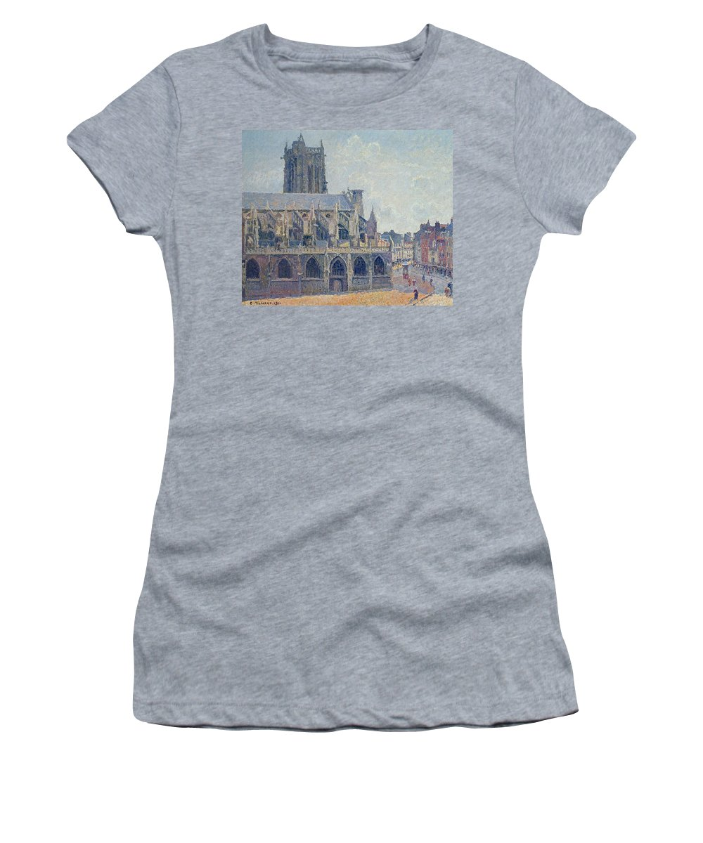 Camille Women's T-Shirt featuring the painting The Church Of St Jacques In Dieppe by Camille Pissarro