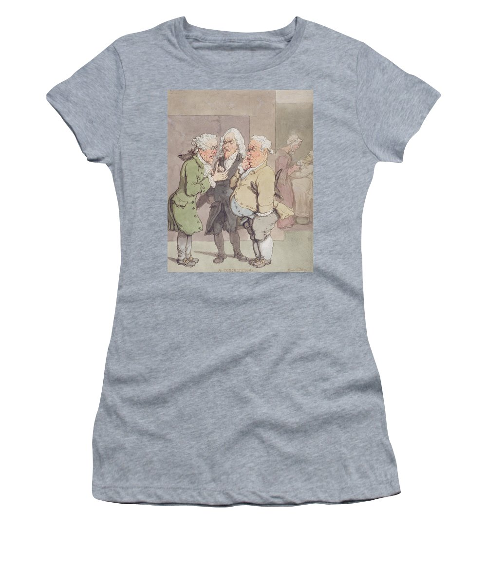 Medical Scene Women's T-Shirt featuring the photograph The Doctors Consultation, 1815-1820 Pen And Ink And Wc Over Graphite On Paper by Thomas Rowlandson
