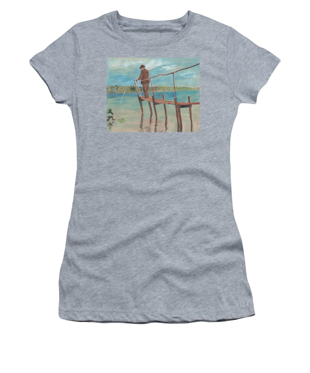 Landscape Women's T-Shirt (Athletic Fit) featuring the painting The Fisherman by Cliff Wilson