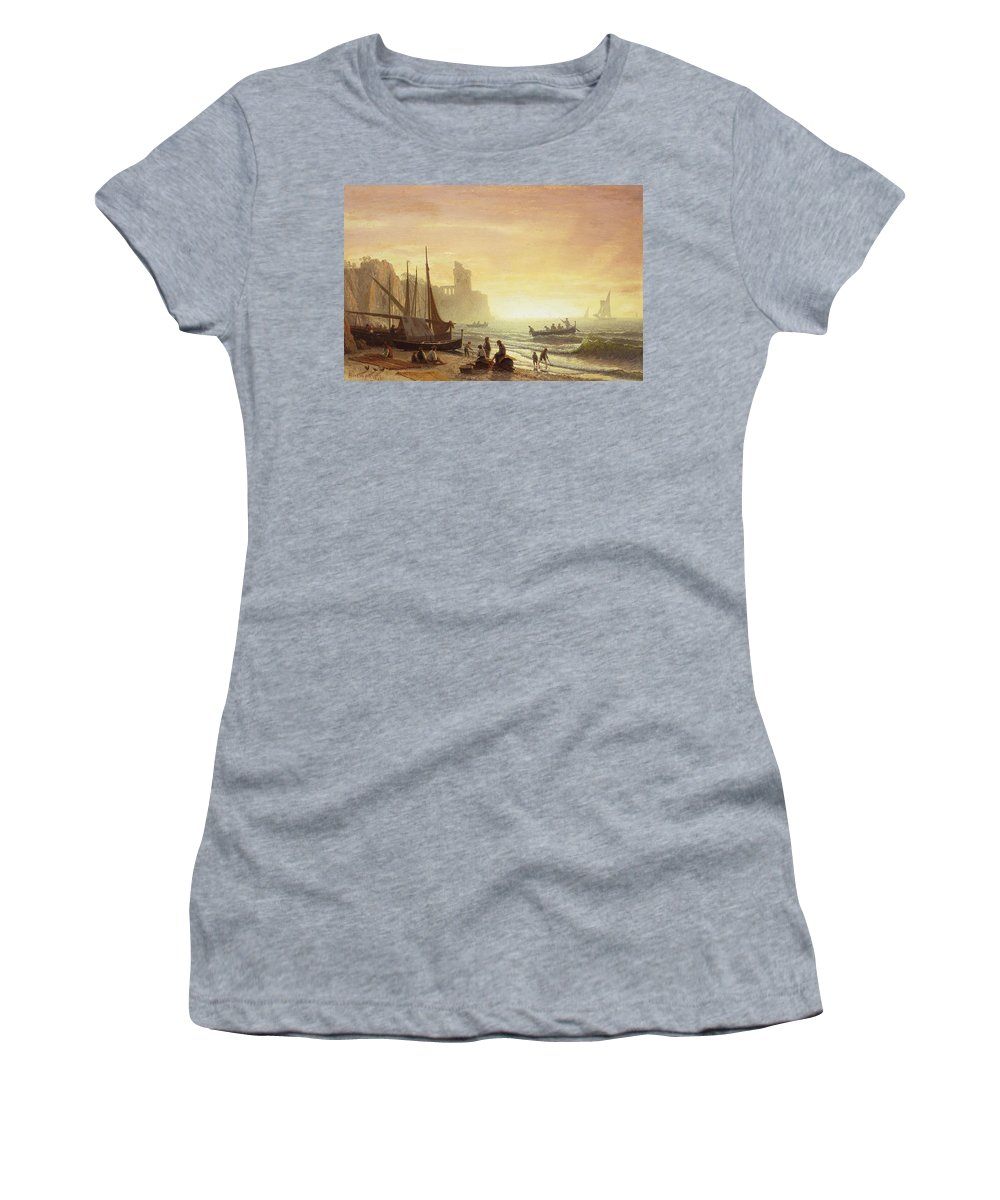 Boat Women's T-Shirt (Athletic Fit) featuring the painting The Fishing Fleet by Albert Bierstadt