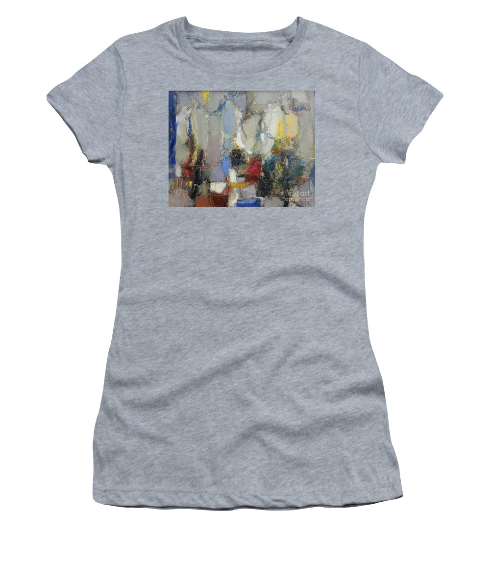 Abstract Women's T-Shirt (Athletic Fit) featuring the painting The Garden Of Eden by Grigor Malinov