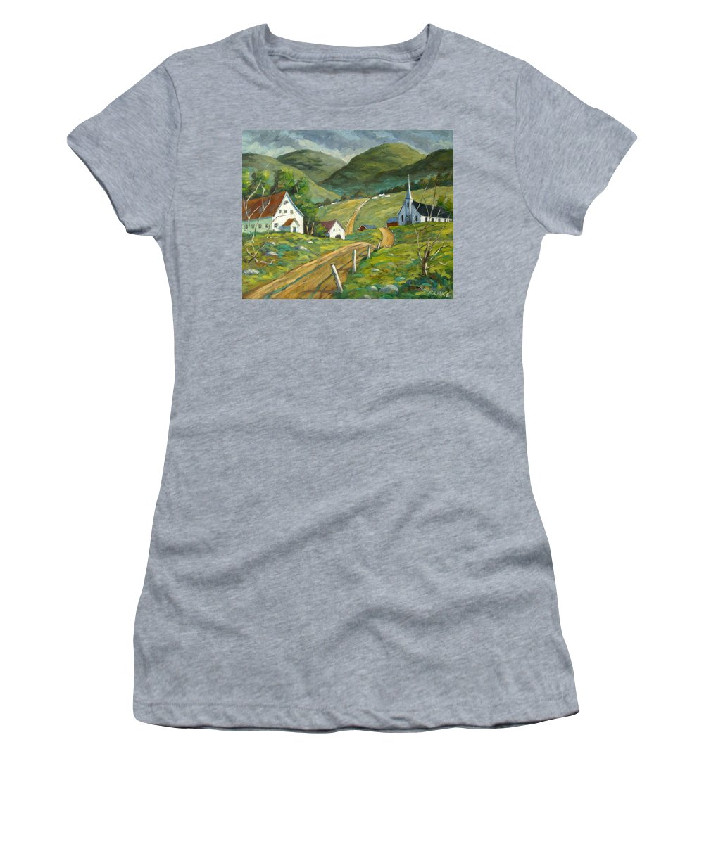 Hills Women's T-Shirt (Athletic Fit) featuring the painting The Green Hills by Richard T Pranke
