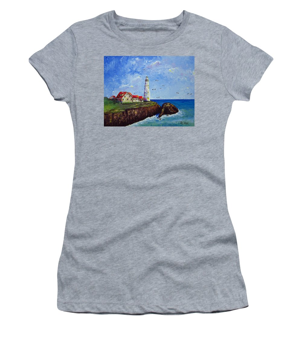 Lighthouse Women's T-Shirt featuring the painting The Guardian by Dottie Kinn