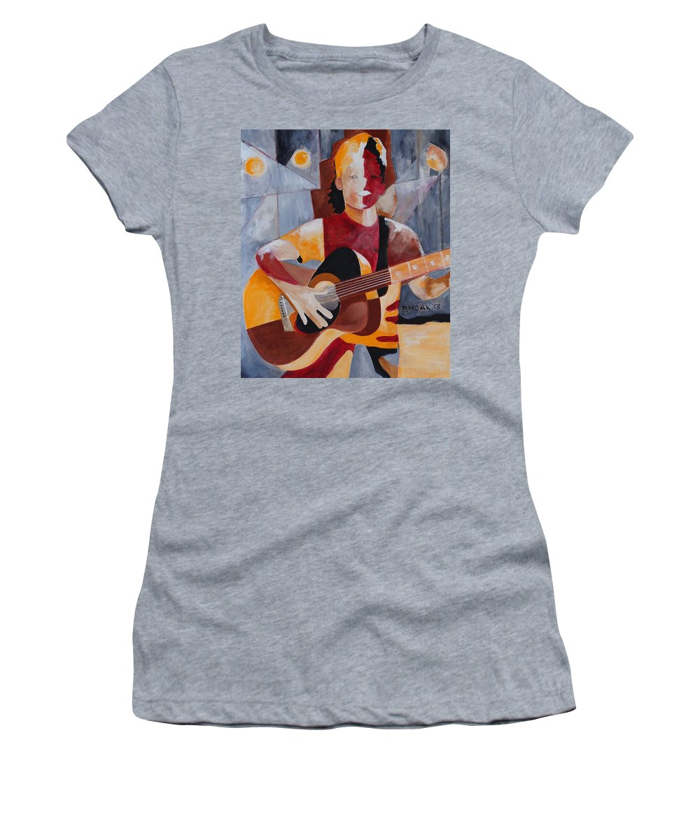 Barbara Moak Women's T-Shirt featuring the painting The Guitar Player by Barbara Moak