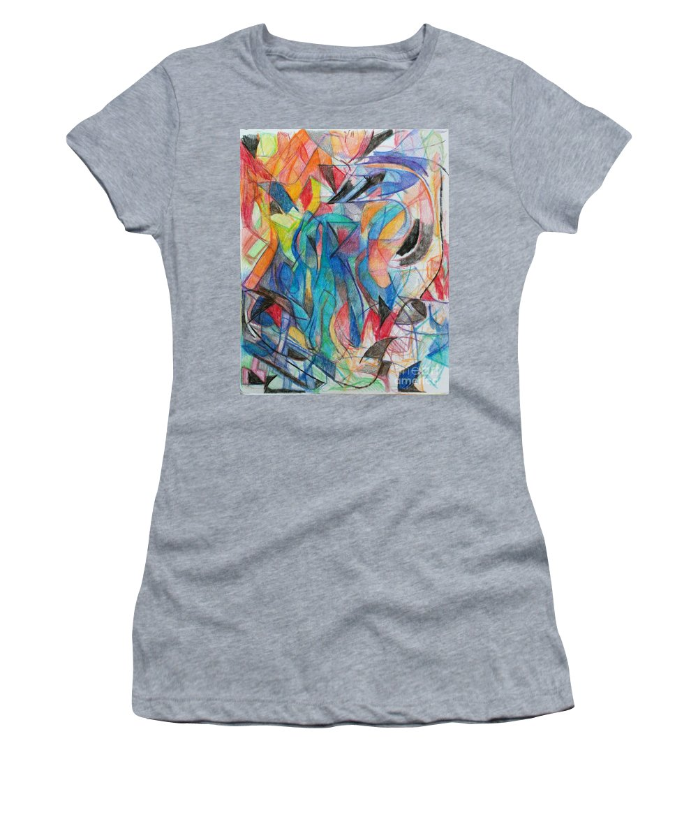 Women's T-Shirt featuring the drawing The Letter Kuf 2 by David Baruch Wolk