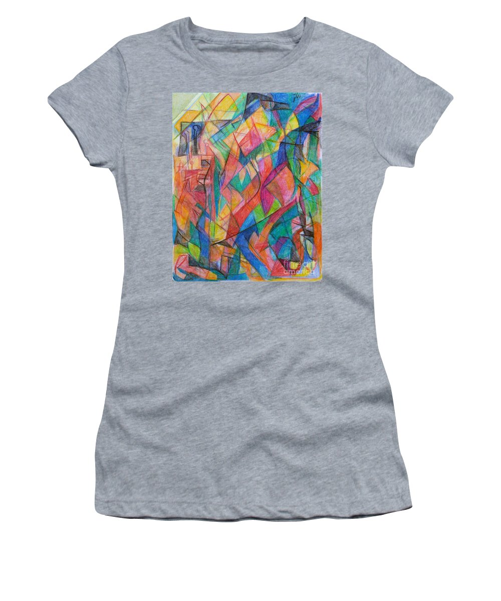 Women's T-Shirt featuring the drawing The Letter Shin 2 by David Baruch Wolk
