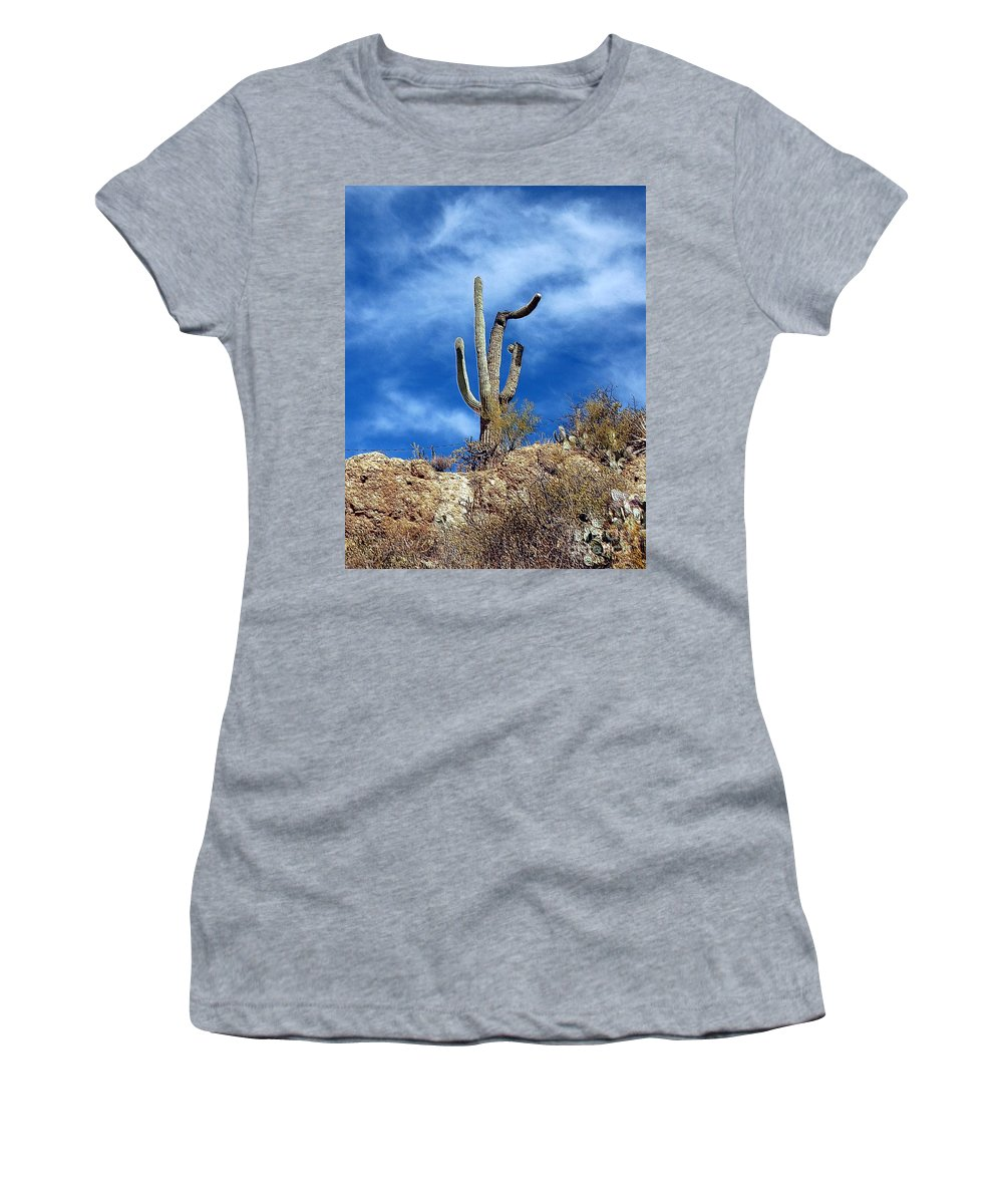 Cactus Women's T-Shirt (Athletic Fit) featuring the photograph The Lonely Suguaro by Kathleen Struckle