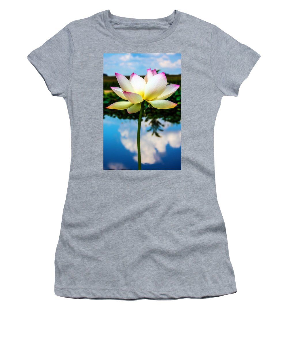 Lotus Women's T-Shirt (Athletic Fit) featuring the photograph The Lotus Blossom by Jon Woodhams