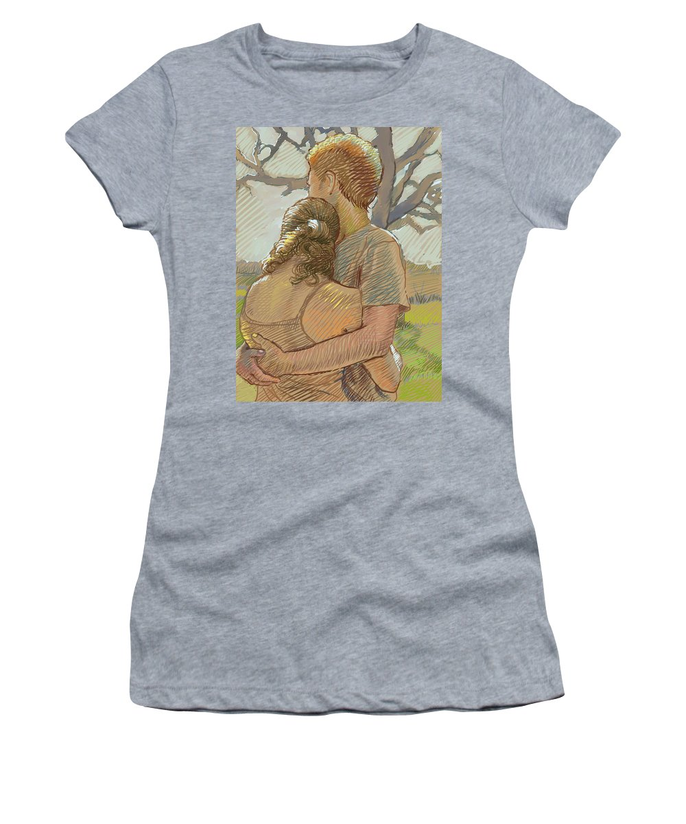 Love Women's T-Shirt featuring the drawing The Lovers by Dominique Amendola