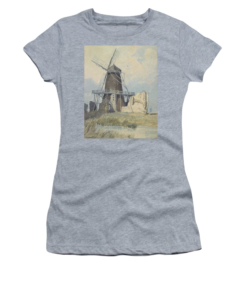 Mill Women's T-Shirt (Athletic Fit) featuring the painting The Mill St Benet's Abbey by John Sell Cotman