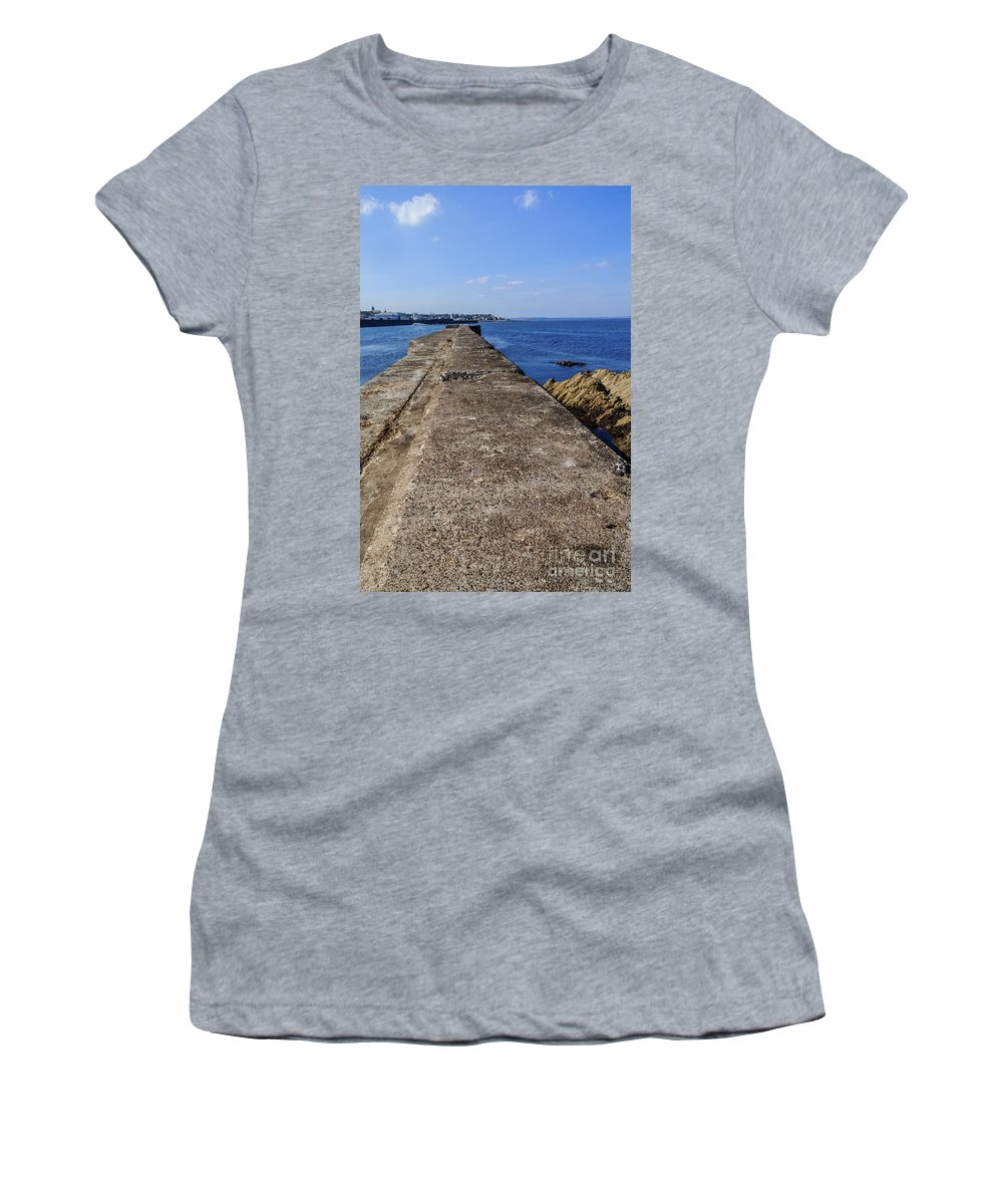 Buckie Women's T-Shirt featuring the photograph The Old Shipyard Pier by Diane Macdonald