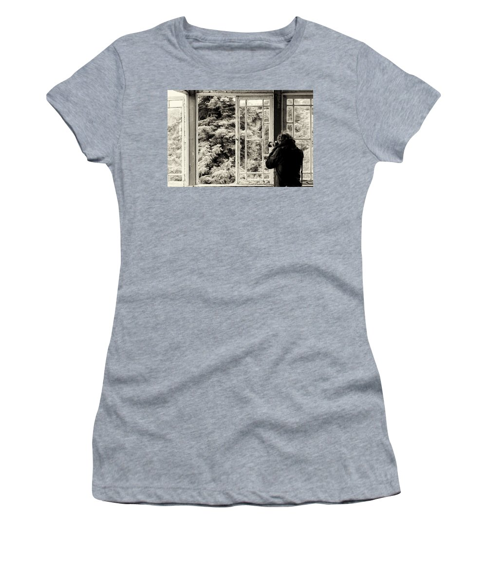 The Photographer's Quest Women's T-Shirt (Athletic Fit) featuring the photograph The Photographer's Quest by Marco Oliveira