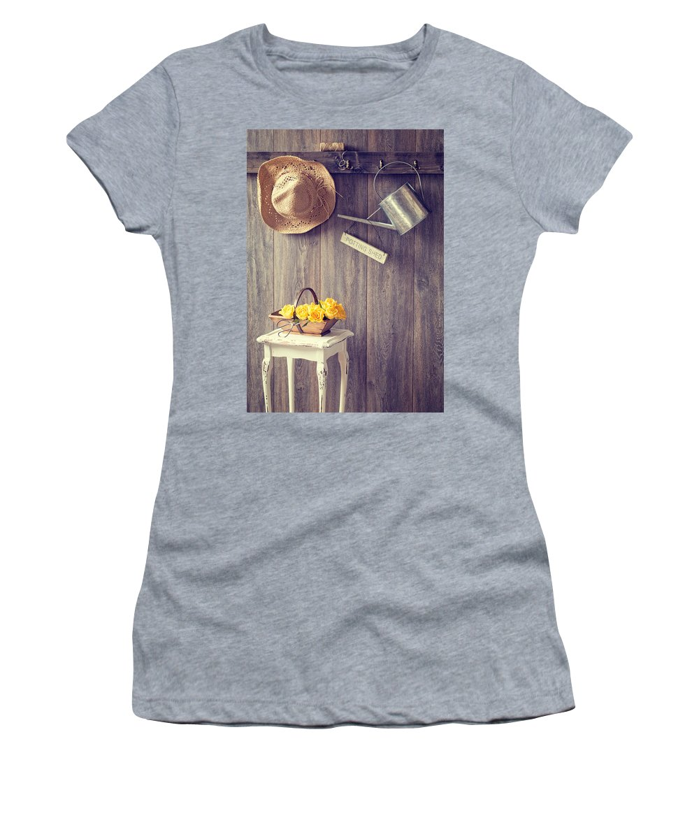 Potting Shed Women's T-Shirt featuring the photograph The Potting Shed by Amanda Elwell