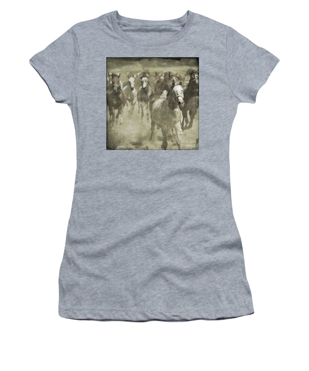 Horse Women's T-Shirt (Athletic Fit) featuring the photograph The Run For Freedom by Angel Ciesniarska