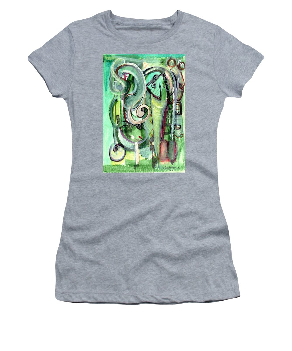 Abstract Art Women's T-Shirt featuring the painting The Song by Stephen Lucas