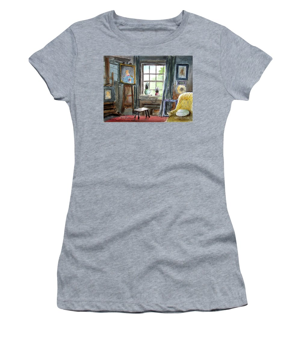 Bill Holkham Women's T-Shirt (Athletic Fit) featuring the painting The Studio Of Juliet Pannett by Bill Holkham