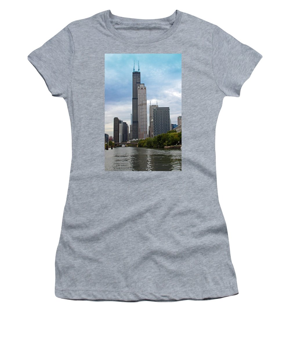 Sears Women's T-Shirt (Athletic Fit) featuring the photograph The Tall Buildings by Carolyn Stagger Cokley
