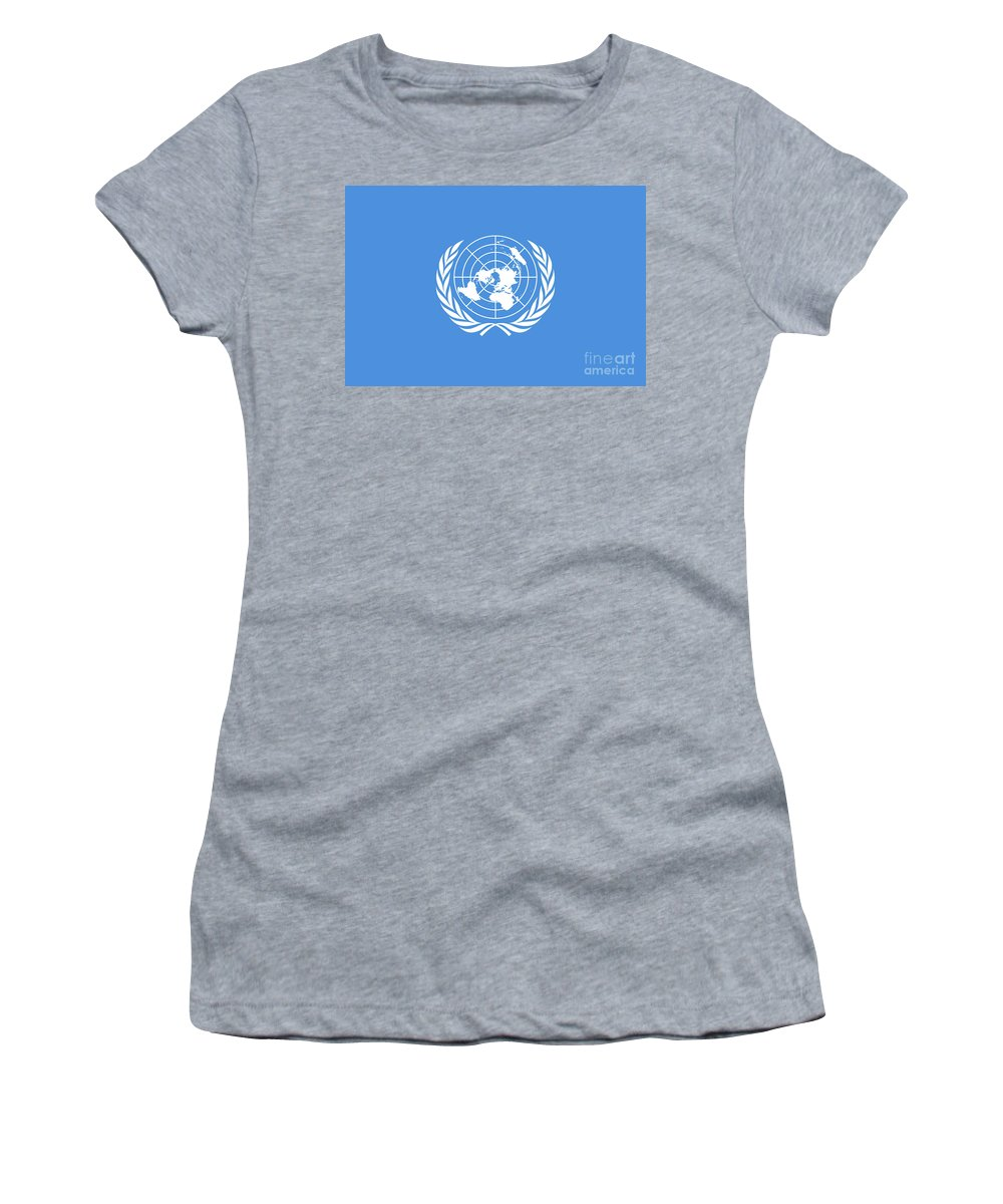 United Nations Women's T-Shirt (Athletic Fit) featuring the digital art The United Nations Flag Authentic Version by Bruce Stanfield
