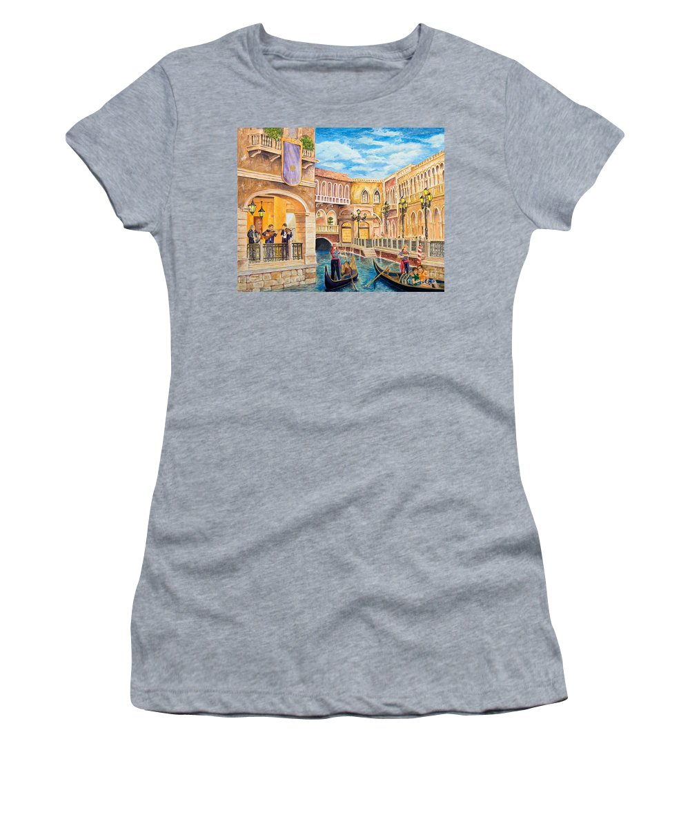 Las Vegas Women's T-Shirt (Athletic Fit) featuring the painting The Venetian Canal by Vicki Housel