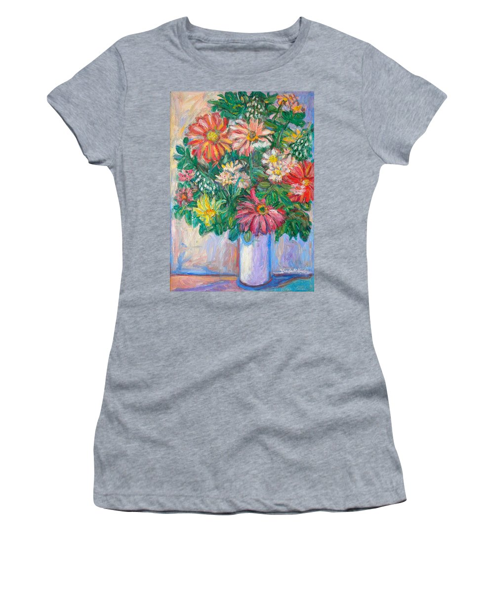 Still Life Women's T-Shirt (Athletic Fit) featuring the painting The White Vase by Kendall Kessler