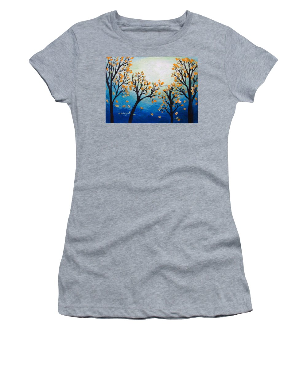 Blue Women's T-Shirt featuring the painting There Is Calmness In The Gentle Breeze by Ashleigh Dyan Bayer